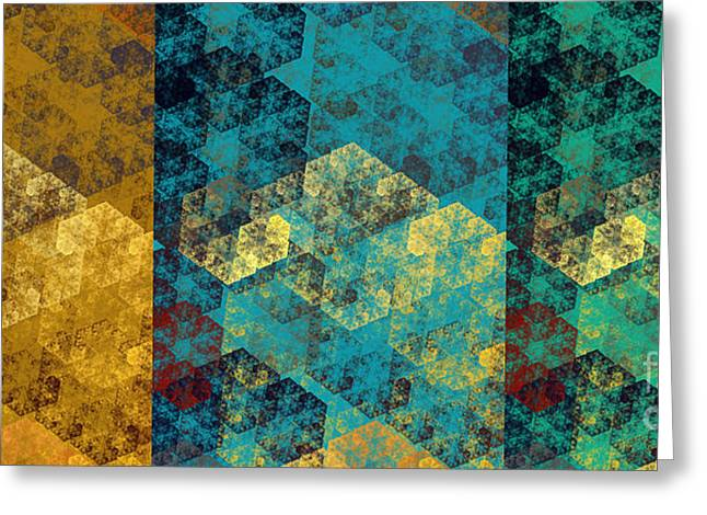 Hexagon Fractal Art Panorama Greeting Card by Andee Design