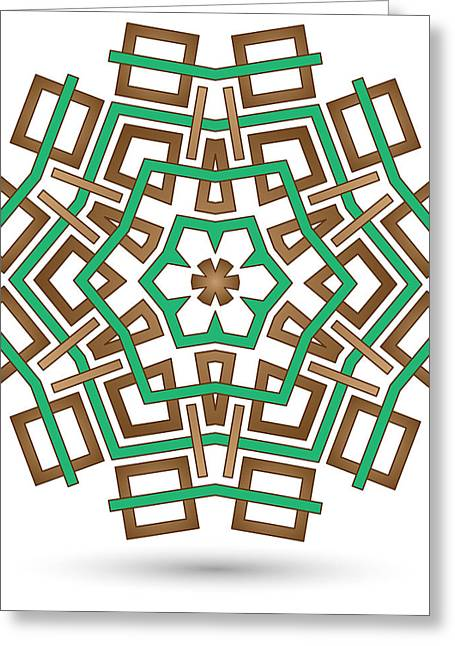 Technical Mixed Media Greeting Cards - Hexagonal Abstract Flower Greeting Card by Jozef Jankola