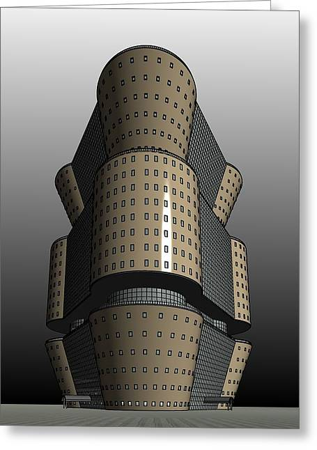 Highrise Digital Greeting Cards - Hexagonal Building 2 Greeting Card by Ron Bissett