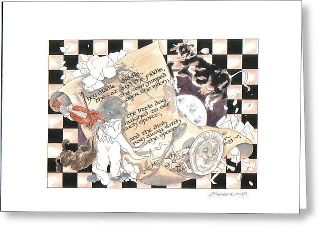 Mother Goose Mixed Media Greeting Cards - Hey Diddle Diddle  Greeting Card by Ginger Stockwell