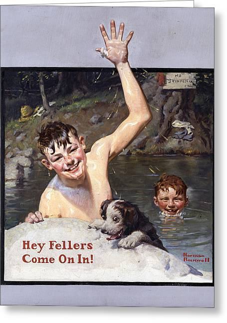 Norman Drawings Greeting Cards - Hey Fellers By Norman Rockwell Greeting Card by Nomad Art And  Design