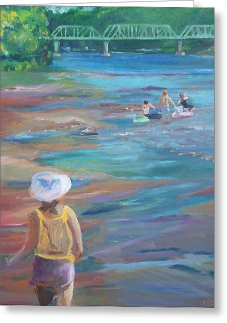 Stockton Paintings Greeting Cards - Hey Wait Up Greeting Card by Susan Esbensen