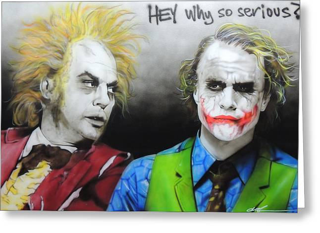 Celebrity Prints Greeting Cards - Hey Why So Serious? Greeting Card by Christian Chapman Art