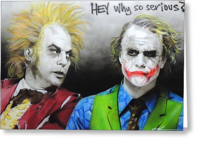 Health Ledger - 'hey Why So Serious?' Greeting Card by Christian Chapman Art