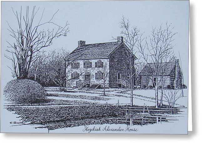 Mecklenburg County Greeting Cards - Hezekiah Alexander House Etching Greeting Card by Charles Roy Smith