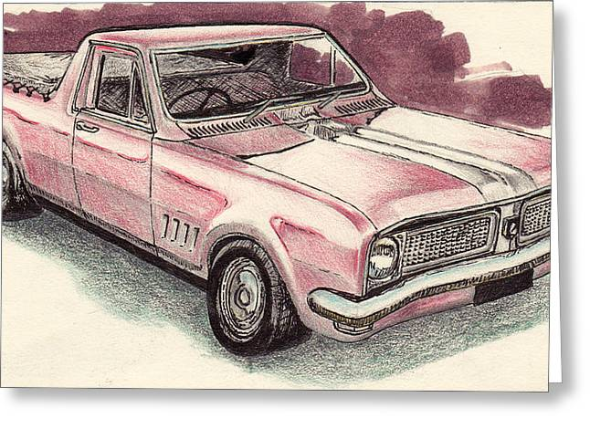 Classic Pickup Drawings Greeting Cards - Hg Holden ute Greeting Card by Guy Pettingell