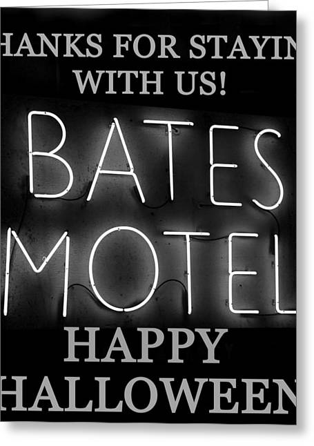 Bates Motel Greeting Cards - HH Bates Motel black and white Greeting Card by David Lee Thompson
