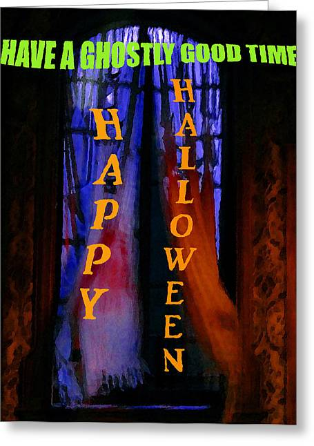 Ghostly Digital Greeting Cards - Ghostly Good Time Halloween card Greeting Card by David Lee Thompson