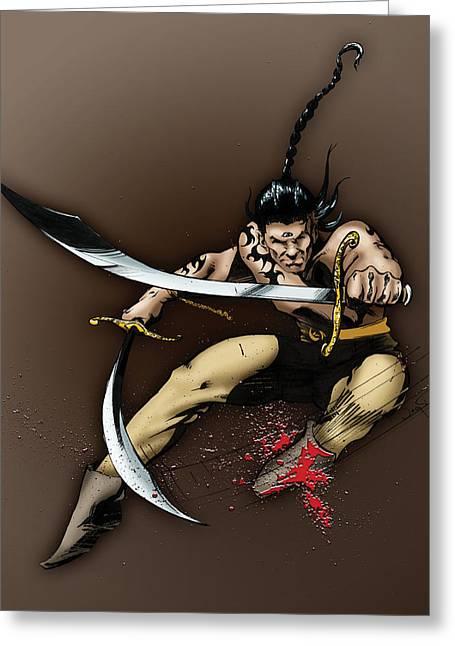Dungeons Greeting Cards - Hhumanni Warrior Greeting Card by James Kramer