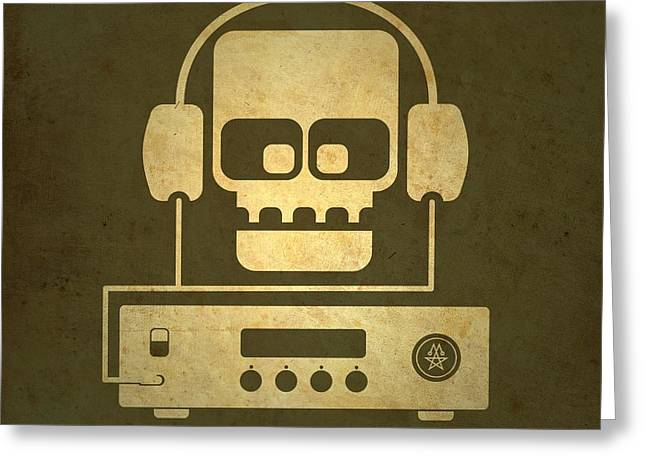 Olive Drab Greeting Cards - Hi Fi Skull Greeting Card by Milton Thompson