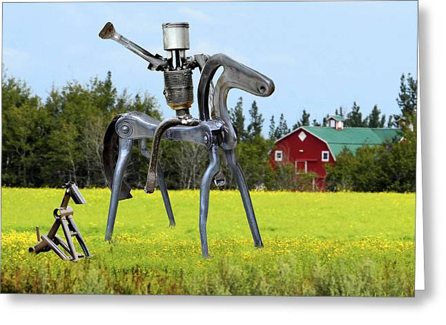 Dog Sculptures Greeting Cards - Hi Ho Silver Greeting Card by Ric Pollock