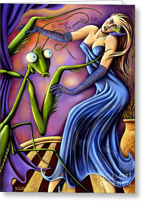 Cellphone Paintings Greeting Cards - Hi Honey Im Gonna be Late Greeting Card by Valerie White