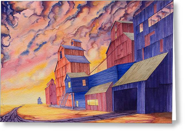 Grain Elevator Greeting Cards - Hi-Line Facing West Greeting Card by Scott Kirby