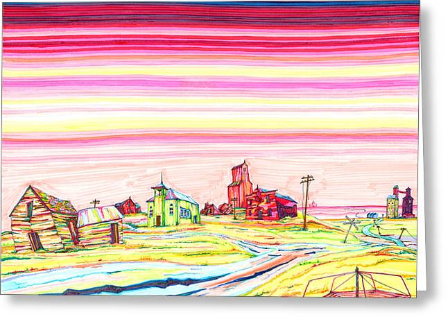 Great Drawings Greeting Cards - Hi-Line Ghost Town Greeting Card by Scott Kirby