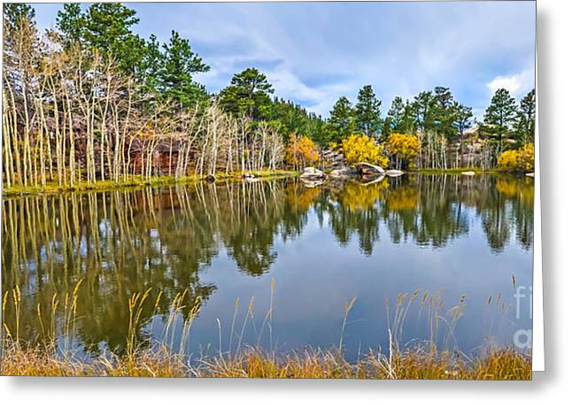 Fort Collins Greeting Cards - Hiawatha Lake Panorama Greeting Card by Baywest Imaging