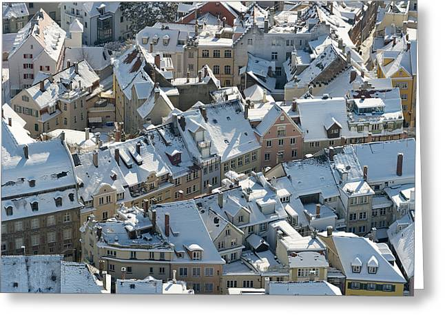 Winterly Old Town Greeting Cards - Hibernal roofs Greeting Card by Holger Spiering