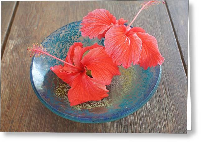 Chikako Hashimoto Lichnowsky Greeting Cards - Hibiscus #4 Greeting Card by Chikako Hashimoto Lichnowsky