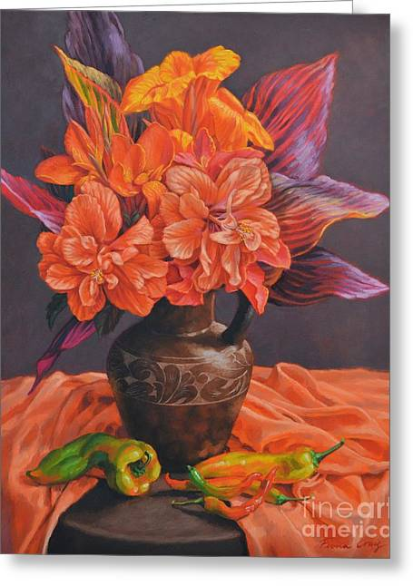 Canna Greeting Cards - Hibiscus and Cannas in Balinese Jug Greeting Card by Fiona Craig