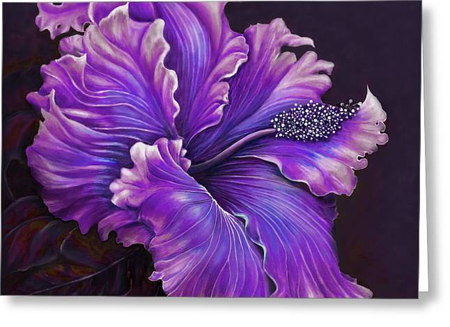 Bucci Paintings Greeting Cards - Hibiscus Fever Purple Greeting Card by Debra Bucci