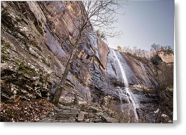 Chimney Rock North Carolina Greeting Cards - Hickory Nut Falls Greeting Card by Randy Scherkenbach