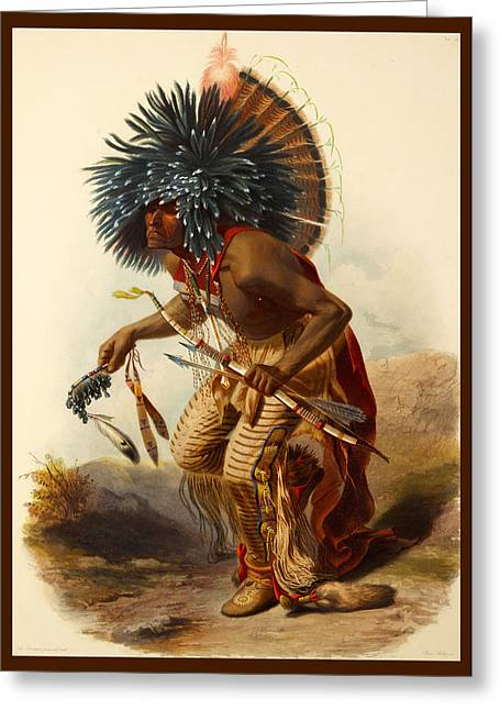 Jewelry Posters Greeting Cards - Hidatsa Warrior Greeting Card by Karl Bodmer