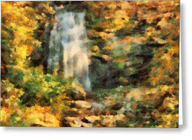 Painter Of Light Greeting Cards - Hidden Autumn Waterfall Greeting Card by Dan Sproul