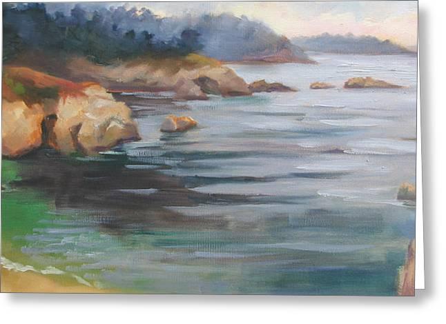 Big Sur Beach Paintings Greeting Cards - Hidden Beach Point Lobos Greeting Card by Karin  Leonard