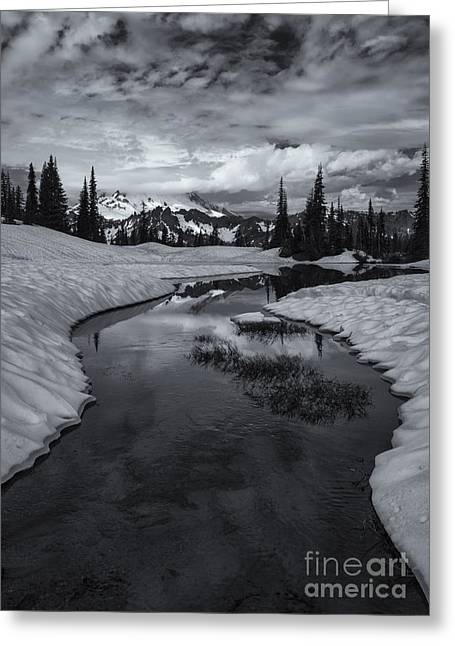 Mt Photographs Greeting Cards - Hidden Beneath the Clouds Greeting Card by Mike  Dawson