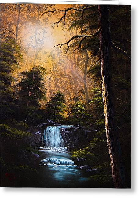 Bob Ross Paintings Greeting Cards - Hidden Brook Greeting Card by C Steele