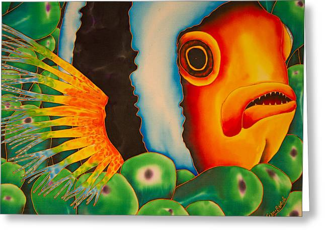 Pacific Tapestries - Textiles Greeting Cards - Hidden Clownfish Greeting Card by Daniel Jean-Baptiste