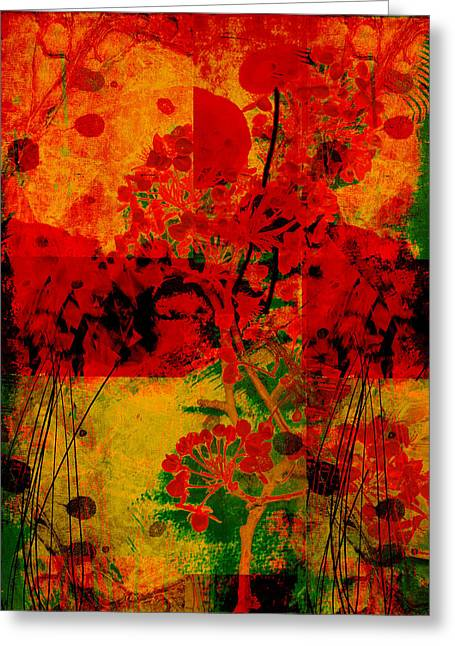 Green And Yellow Abstract Greeting Cards - Hidden Garden Greeting Card by Ann Powell