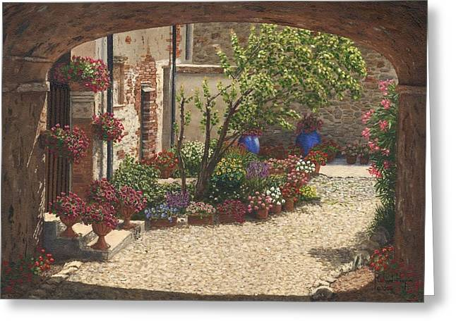 Europe Paintings Greeting Cards - Hidden Garden Villa di Camigliano Tuscany Greeting Card by Richard Harpum