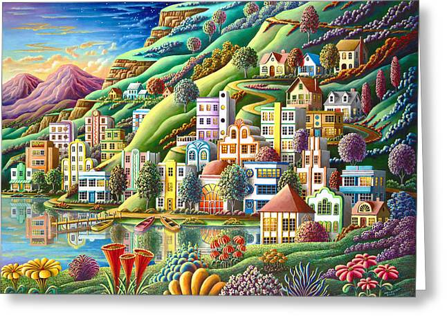 Mythical Landscape Greeting Cards - Hidden Harbor Greeting Card by Andy Russell