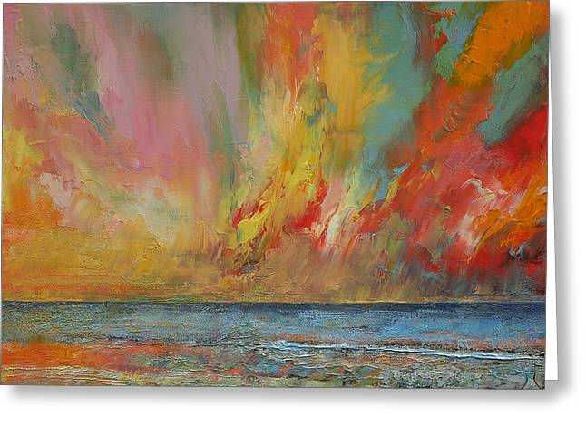 Flames Paintings Greeting Cards - Hidden Heart Lava Sky Greeting Card by Michael Creese