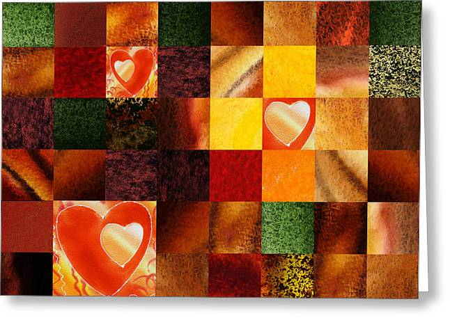 Art Quilt Greeting Cards - Hidden Hearts Squared Abstract Design Greeting Card by Irina Sztukowski