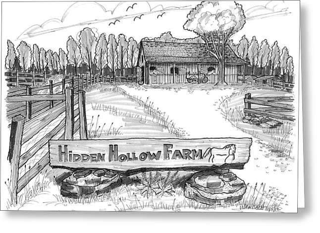 Disability Drawings Greeting Cards - Hidden Hollow Farm 1 Greeting Card by Richard Wambach