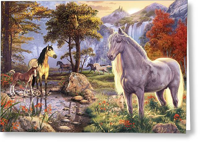 Botanical Greeting Cards - Hidden Images - Horses Greeting Card by Steve Read