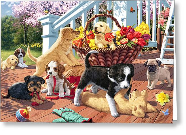 Playful Greeting Cards - Hidden Images - Puppy Mischief Greeting Card by Steve Read