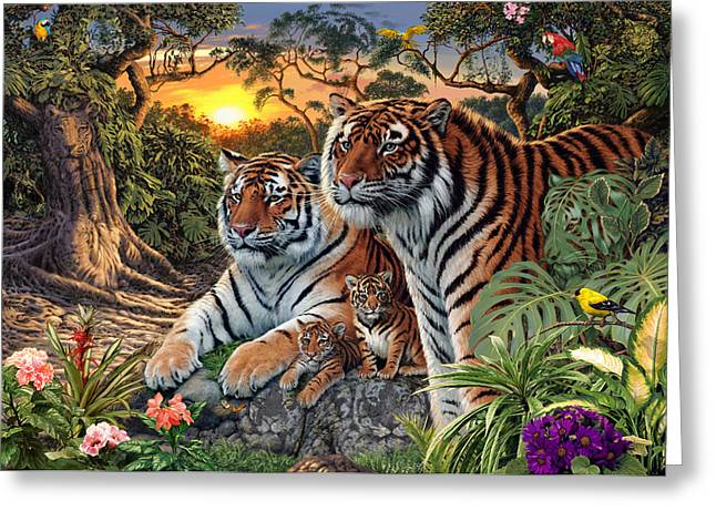 Tiger Illustration Greeting Cards - Hidden Images - Tigers Greeting Card by Steve Read