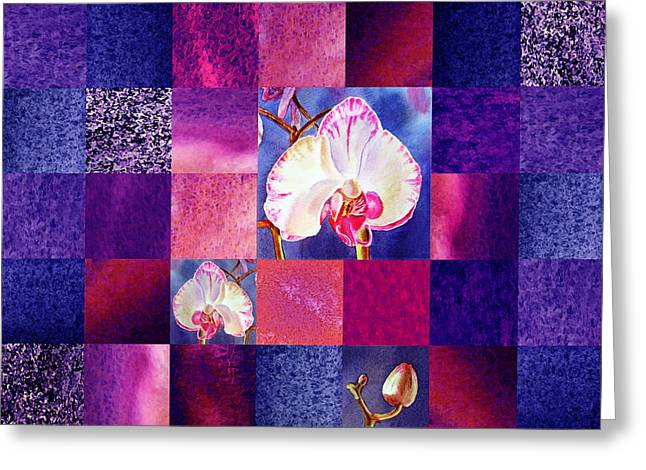 Art Quilt Greeting Cards - Hidden Orchids Squared Abstract Design Greeting Card by Irina Sztukowski