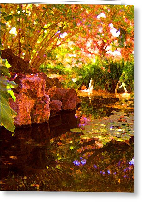 Water Garden Digital Art Greeting Cards - Hidden Pond Greeting Card by Amy Vangsgard