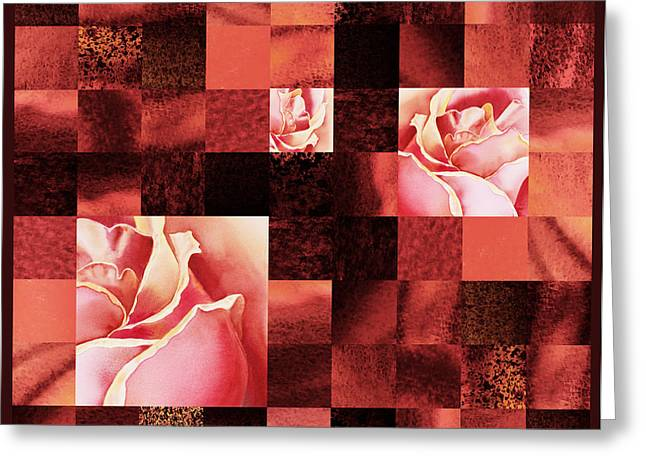 Art Quilt Greeting Cards - Hidden Roses Squared  Greeting Card by Irina Sztukowski