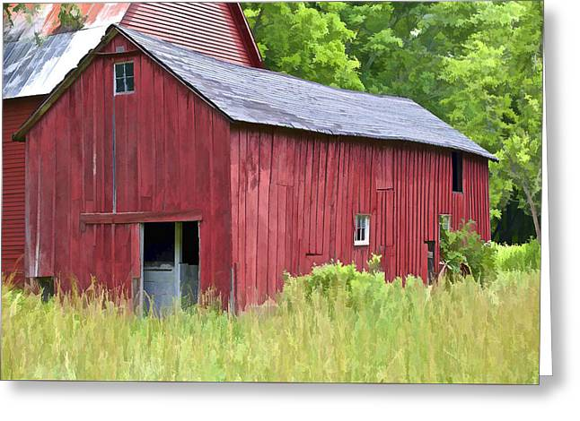Dilapidated Paintings Greeting Cards - Hidden Rustic Barn  Greeting Card by David Letts