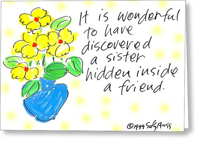 Vase Of Flowers Drawings Greeting Cards - Hidden Sister Greeting Card by Sally Huss