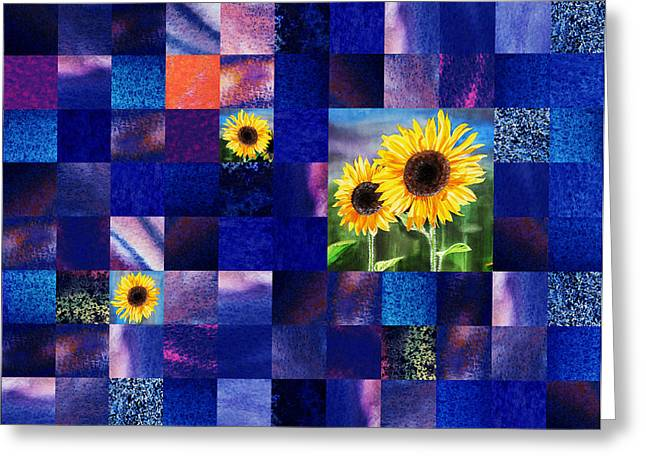 Art Quilt Greeting Cards - Hidden Sunflowers Squared Abstract Design Greeting Card by Irina Sztukowski