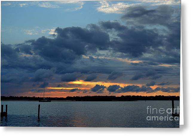 Sailboats Docked Greeting Cards - Hidden Sunset in the Harbor Greeting Card by Amy Lucid
