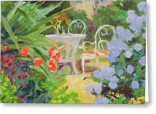 Garden Chairs Greeting Cards - Hidden Table, 20078 Oil On Board Greeting Card by William Ireland