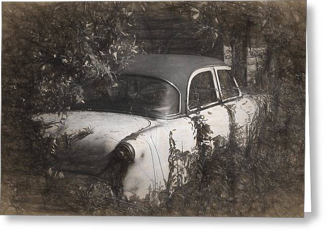 Rusted Cars Mixed Media Greeting Cards - Hidden Treasure II Greeting Card by Richard Rizzo