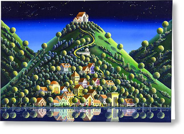 Imagined Landscape Greeting Cards - Hidden Village 21 Greeting Card by Andy Russell