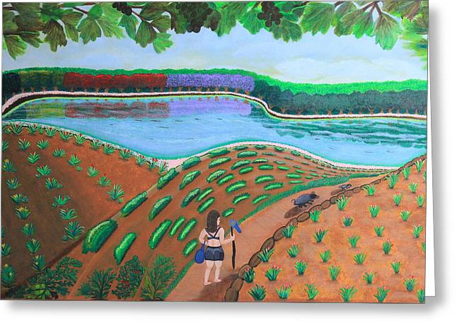 Recently Sold -  - Fruit Tree Art Greeting Cards - Hidden Water From Above Greeting Card by Lorna Maza